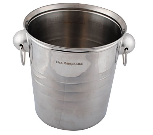 GP Personalized Engraved Silver Metal Wine Bucket for Wedding Parties Events (Personalized Wine Bucket)
