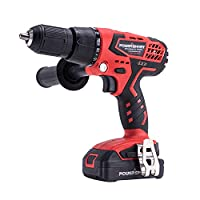PowerSmart Cordless Drill Driver, 45 N.M Torque Impact Drill Driver, 1/2'' Keyless Chuck, Built-in LED Drill, Wall Brick Wood Metal Drill Driver, 20V Drill Lithium-Ion Battery & Charger, PS76405A