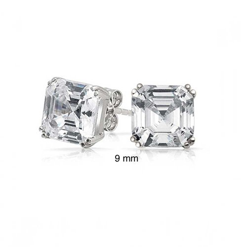 Unisex Asscher Cut Square CZ Stud Earrings 925 Sterling Silver (9mm) (Asscher Stud)