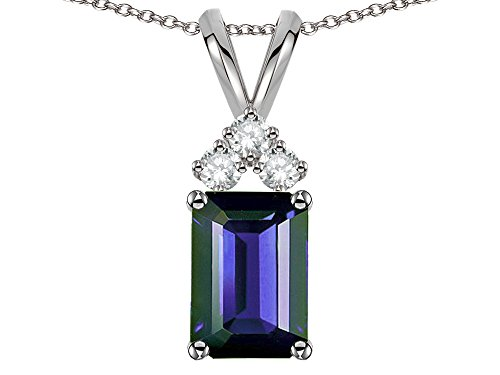 Star K Classic Emerald Octagon Cut 8x6mm Genuine Iolite Rabbit Ear Pendant Necklace 14 kt White Gold