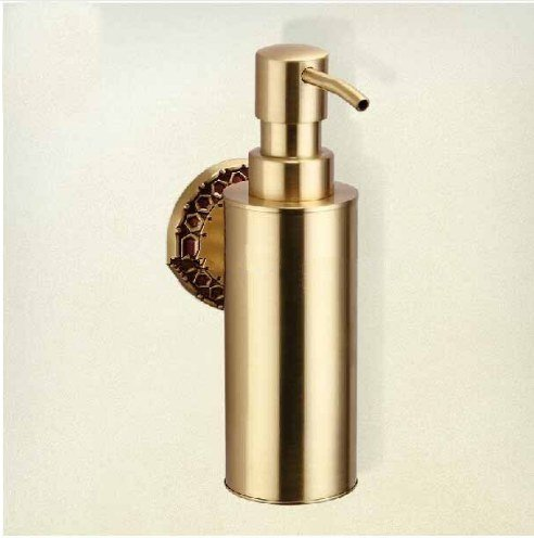 Gowe Modern Round Shape Solid Brass Soap Dispenser Liquid Soap Dish Holder Wall Mount 0