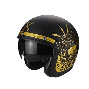 Scorpion Casco Moto Belfast Fender, Matt black/gold, XS