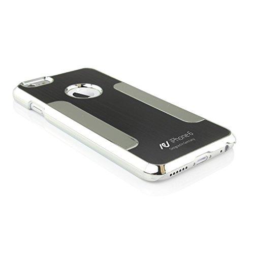 Original UrCover® Schutz Hülle für das Apple iPhone 6 Aluminium Chrom Edition Edel Case Alu Cover Schale Backcover Tasche Schwarz
