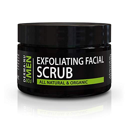 Exfoliating Mens Natural face scrub - Organic for Sensitive Facial Skin - Treats Acne - Unclogs Pores - Prevents Ingrown Hairs - 4oz