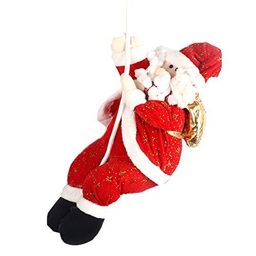 Muñeca navideña de Papá Noel, adorno navideño de Papá Noel cuerda Escalada Habitación Decoración del techo Árbol de...