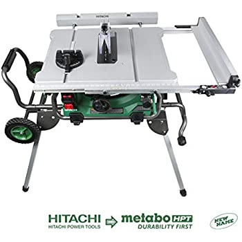 """Hitachi C10RJ 10"""" 15-Amp Jobsite Table Saw with 35"""" Rip Capacity and Fold and Roll Stand"""