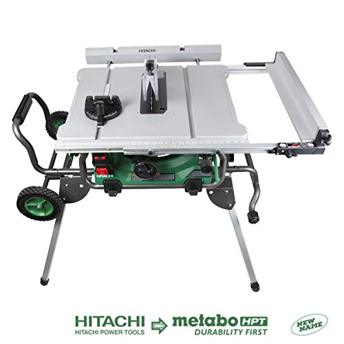 "Hitachi C10RJ 10"" 15-Amp Jobsite Table Saw with 35"" Rip Capacity and Fold and Roll Stand"