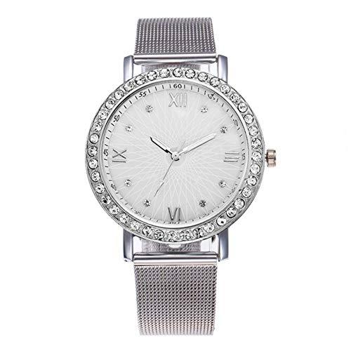 Watch Mesh Ladies Stretch - Lightclub Fashion Women Rhinestone Mesh Band Roman Numerals Analog Quartz Wrist Watch - Silver
