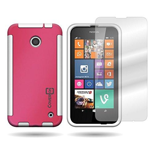 Nokia Lumia 635 Case, CoverON [VitaCase Series] Slim Hybrid Armor Hard Cover TPU Bumper Phone Case and Screen Protector for Nokia Lumia 635 - Hot Pink & - Phone For Girls Cases 635 Nokia