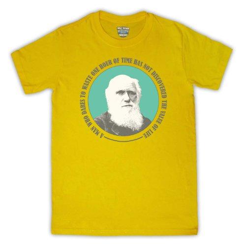 Charles Darwin Value Of Life para hombre T-Shirt amarillo
