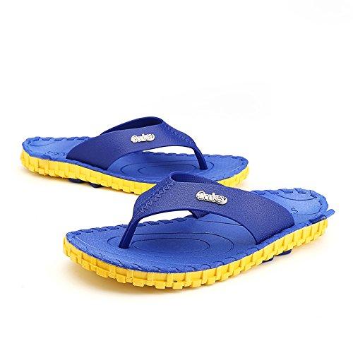 @Sandals Scivoloso Le Scarpe Da Spiaggia, Ciabatte, Tendenze Moda, All'Aperto Indossare Scarpe Con Clip Punta E Piedi,44,Bao Blu Giallo