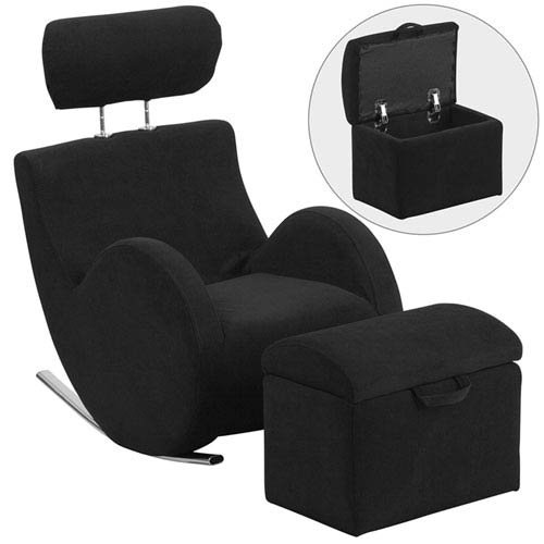 Parkside Series Black Fabric Rocking Chair with Storage Ottoman by Parkside