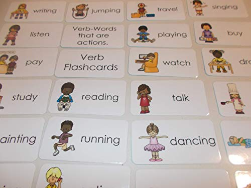 23 Laminated Preschool Verbs Flashcards.