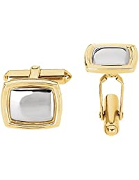 Jewels By Lux 14K Yellow and White Two Tone Gold 14x16mm Square Cuff Links-Pair