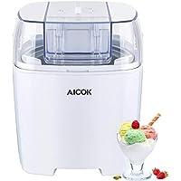 Aicok Sorbetière Électrique 1.5L, Machine à Glace Réfrigérante pour Crème Glacée, Sorbet et Yaourt Glacé, Fonction de Minuterie et Des Recettes Fournies, Sans BPA, Blanc