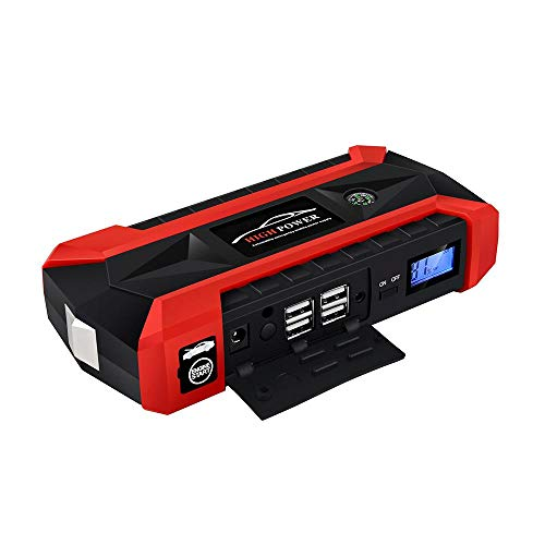KOBWA Peak Jump Starter, Portable Car Jump Starter Kit 600A Peak 20000mAh Auto Battery Booster Emergency Power Pack Multi-Function Power Bank 4 USB Ports Phone Laptop Charger LED Flashlight ()