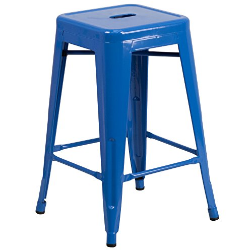Flash Furniture 24'' High Backless Blue Metal Indoor-Outdoor