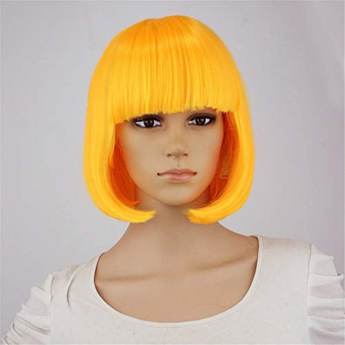 Synthetic 10Inch Straight Short Bob Wigs Bangs Blue Golden Red Black White Purple Pink Green Brown Cosplay Wig Female Dark Yellow 10inches ()