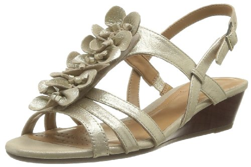 Clarks Playful Gift 203582594 - Sandalias de cuero para mujer, color dorado Dorado (Gold Leather)