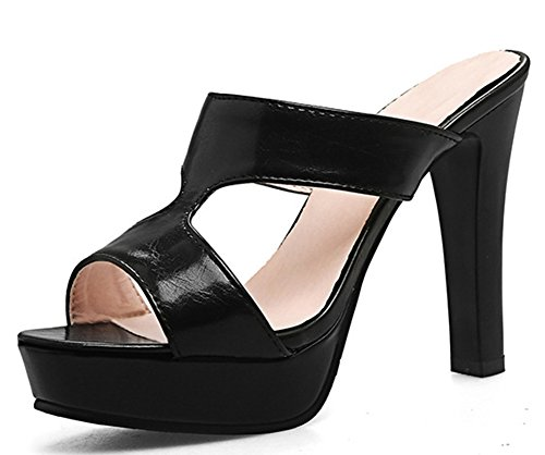 IDIFU Women's Sexy Open Toe High Block Heels Platform Mules Sandals (Black, 7.5 B(M) US) ()