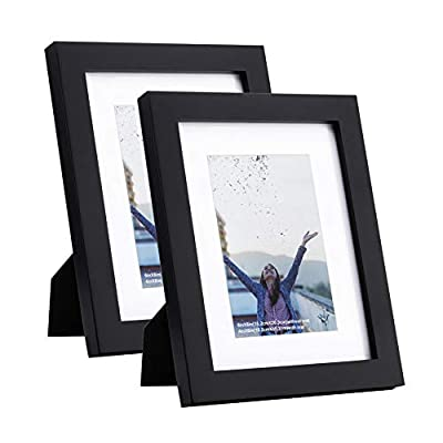 RPJC 5x7 inch Picture Frame (2pk) Made of Solid Wood and High Definition Glass Display Pictures 4x6 with Mat or 5x7 Without Mat for Wall Mounting Photo Frame Black
