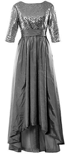 MACloth 3 4 Low Evening of Sequin Dress Grau Women the High Gown Bride Mother Sleeve wrT5wqZ