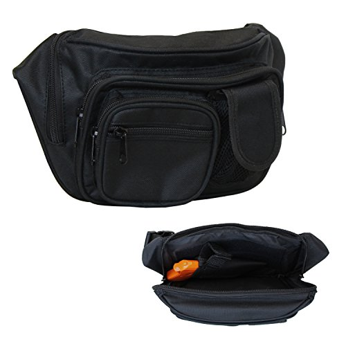 EG BAGS Concealed Carry Pistol Bag - Black Gun Concealment Fanny Pack - Fits up to 50 in Waist (Best Pistol For A Woman To Carry Concealed)