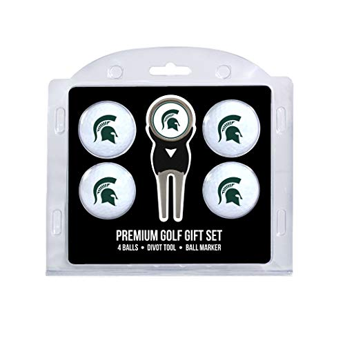 Team Golf NCAA Michigan State Spartans Regulation Size Golf Balls (4 Count) & Divot Tool with Removable Double-Sided Magnetic ()
