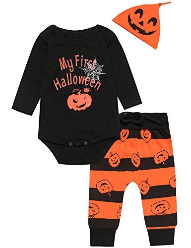 3PCS Baby Boys' Outfit Set Halloween Pumpkin Costume Long Sleeve Romper (6-12 Months)