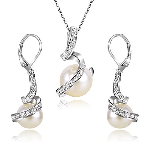 EleQueen Women's Crystal Cream Simulated Pearl Bridal Pendant Necklace Leverback Earrings Set Ivory Color Silver-tone by EleQueen