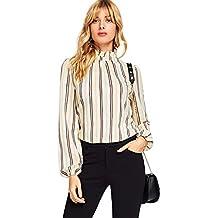 Romwe Women's Elegant Striped Stand Collar Workwear Blouse Top Shirts