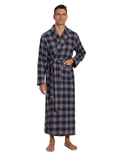 Extra Long Robe (Noble Mount Men's Premium Flannel Long Robe - Gingham Checks - Charcoal-Navy - Large/X-Large)