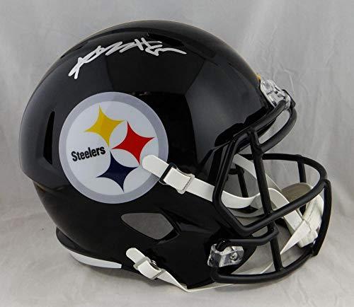 Pittsburgh Authentic Helmet Steelers Autographed - Antonio Brown Autographed Pittsburgh Steelers F/S Speed Helmet- JSA W Auth Silver