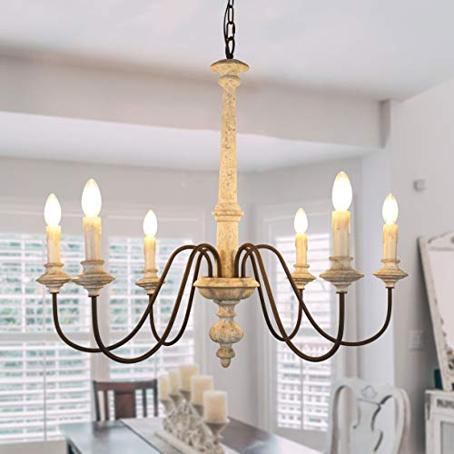 Shabby Chic Distressed White Wooden Chandelier, 6-Light French Country Wood Candle Chandelier