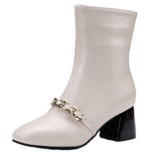 COOLCEPT Women Fashion Zipper Bootie Beige 0gVUD