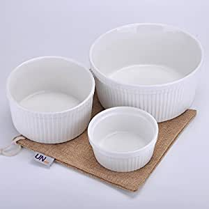 UName Set of 3 Ramekins & Soufflé Dishes, White, UN292