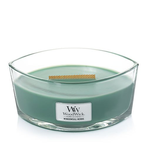 WINDOWSILL HERBS Ellipse HearthWick Flame Scented Candle by WoodWick