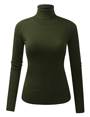 Womens Long Sleeve Turtleneck Sweater - 4