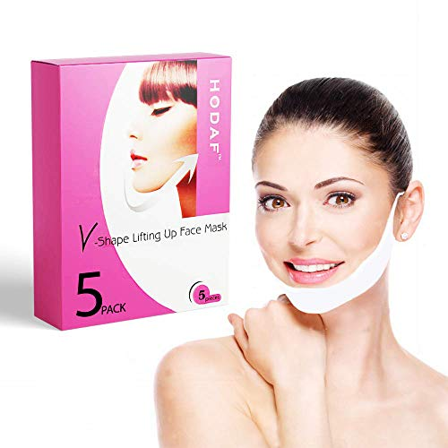 - V-Shape Chin Mask - Anti-Age Face Slimming Lifting Patch - Double Chin Neck Zone Fat Reducer - V-Line Anti Wrinkle Firming Moisturizing Tape Mask - Chin Care Tightening Band - Pack of 5 Masks