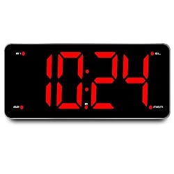 Ultra Large Display Alarm Clock Radio, Large Number Clock, LED Digital Clock with 9.5 Mirror Surface Display, Stepless Dimmer, FM Radio, Dual Alarm, Snooze Function, Sleep Timer and Battery Backup