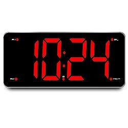 Large Number Display Alarm Clock Radio - Red