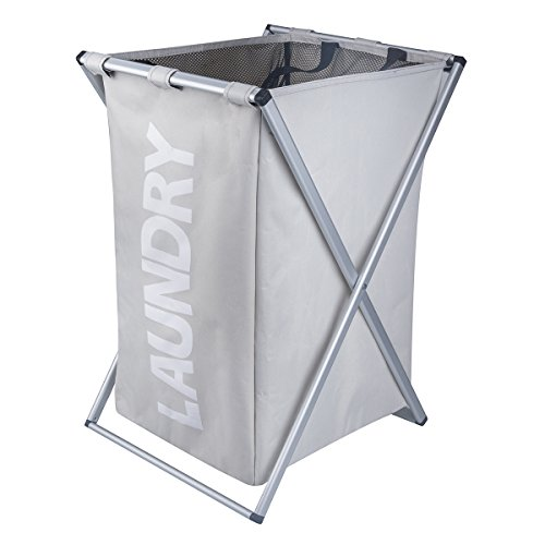 Laundry Hamper Oxford Metal X-Frame Laundry Basket Clothes Storage (Grey) (Metal Hampers)