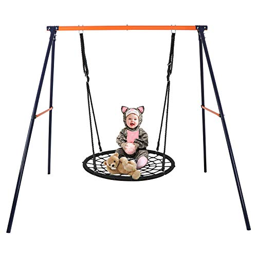 (SUPER DEAL 24'' Spider Web Tree Swing Net Swing + Heavy Duty Steel Swing Stand Solid Metal Swing Frame, Extra Safe and Durable, Fun for Kids, Combo)