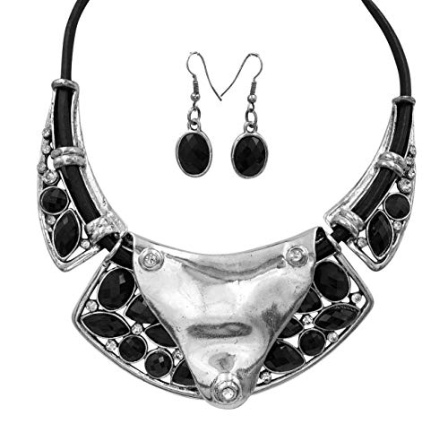 Gypsy Jewels Chunky Unique Statement Necklace & Earrings Set (Abstract Black Leather Cord) ()