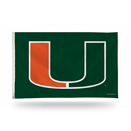Miami Hurricanes 3x5 Flag (NCAA Miami Hurricanes Banner Flag 3-Foot by 5-Foot)