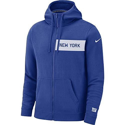 (Nike Men's New York Giants Full Zip Fleece Club Hoodie Rush Blue/White Size Large)