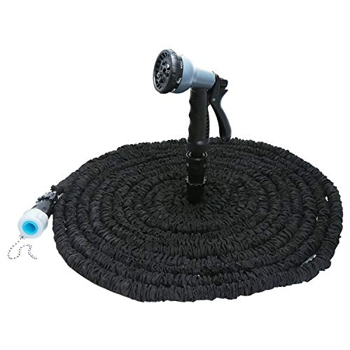 Tokyo Cold 25-100 Ft Expandable Flexible Garden Water Hose for Car Hose Pipe Plastic Hoses to Watering with Spray Gun,75Ft,Black