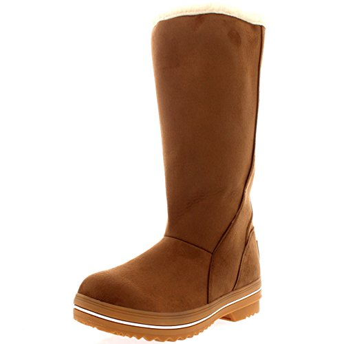 Womens Original Tall Suede Rubber Sole Winter Snow Rain Boots - 7 - TAN38 YC0125 (Boots Winter Rain Snow)