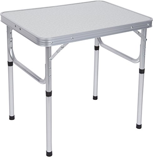 - Trademark Innovations Aluminum Adjustable Portable Folding Camp Table With Carry Handle