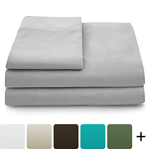 Cosy House Collection Luxury Bamboo Bed Sheet Set – Hypoallergenic Bedding Blend from Natural Bamboo Fiber – Resists Wrinkles – 4 Piece – 1 Fitted Sheet, 1 Flat, 2 Pillowcases – King, Silver
